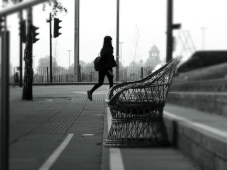 Free stock photo of black-and-white, city, road, person