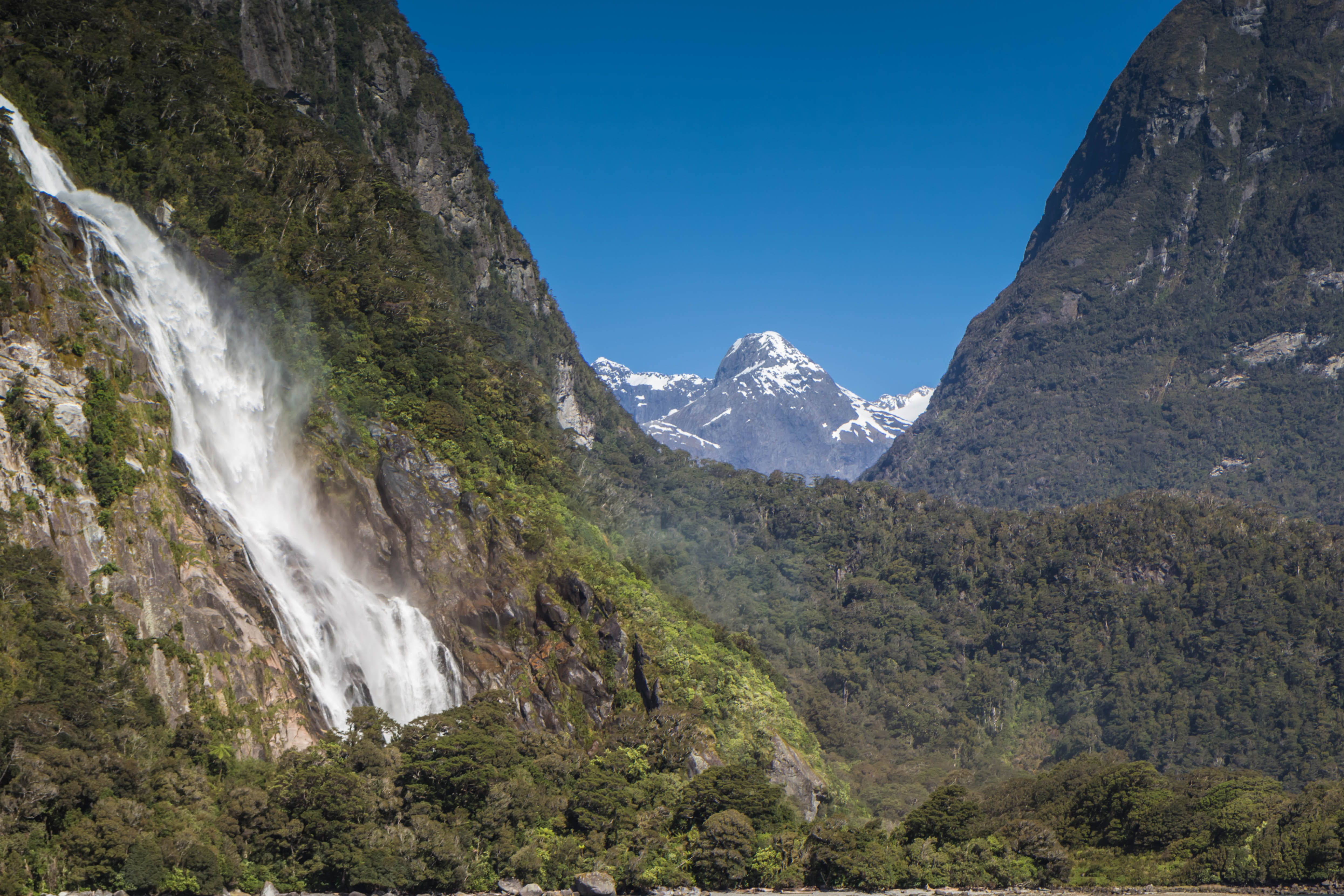 Free stock photo of mountains, waterfall, new zealand, milford sound