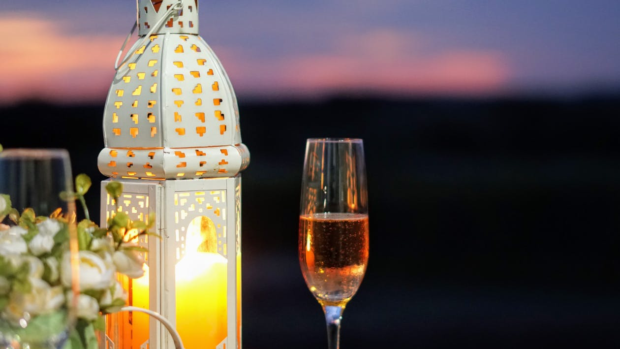 candle, candlelight, champagne