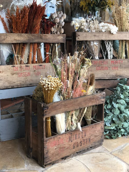 Free stock photo of box, dried flowers, flower, market