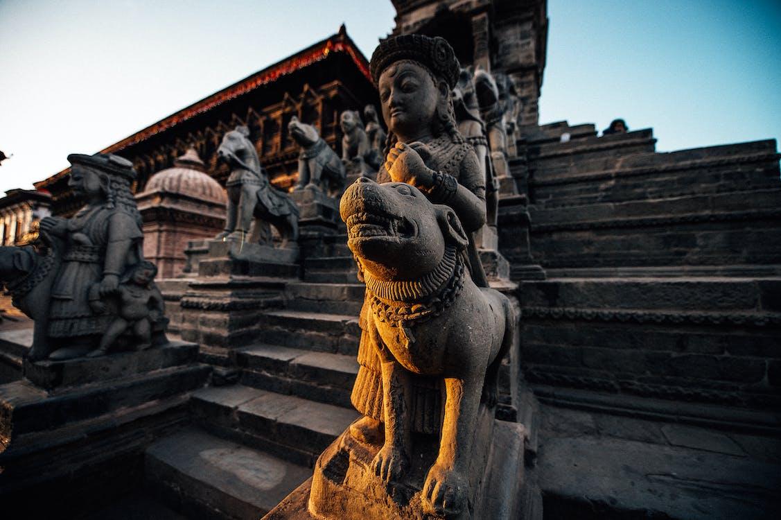 Sculpture of Goddess and dog on Bhaktapur Durbar Square