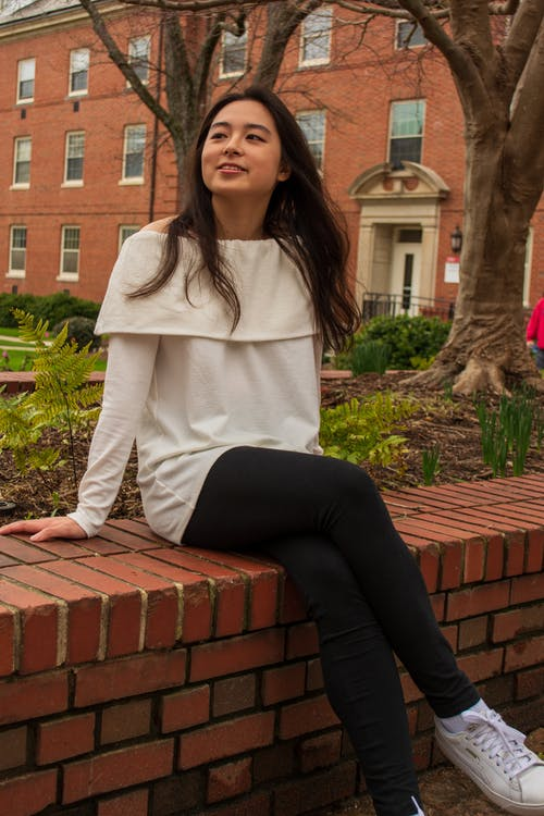 Free stock photo of brick, brown hair, college