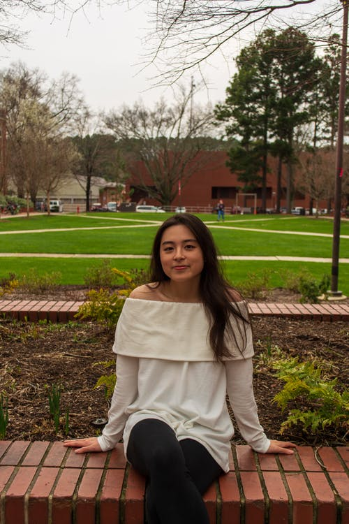 Free stock photo of brick, brown hair, college campus