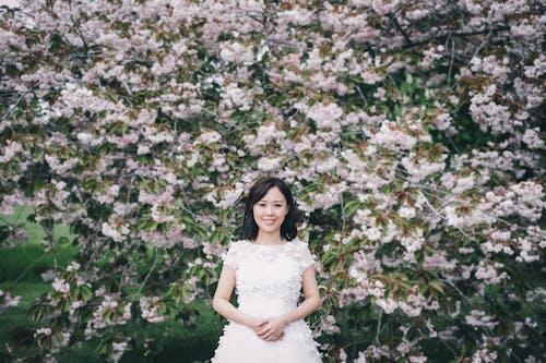 Smiling elegant Asian bride against blooming tree