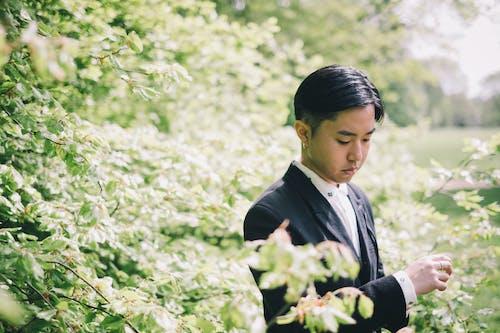 咲く木の近くに立っている若い穏やかなアジアの新郎