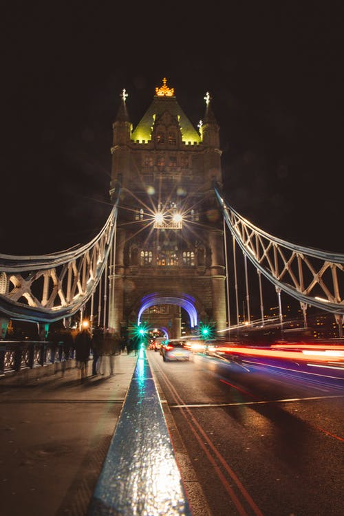 Free stock photo of light trail, london, london bridge, night