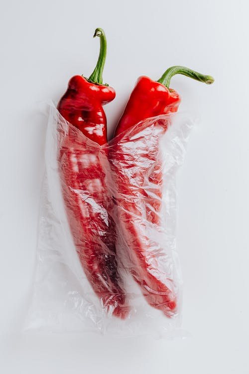 Red Peppers Inside A Clear Plastic