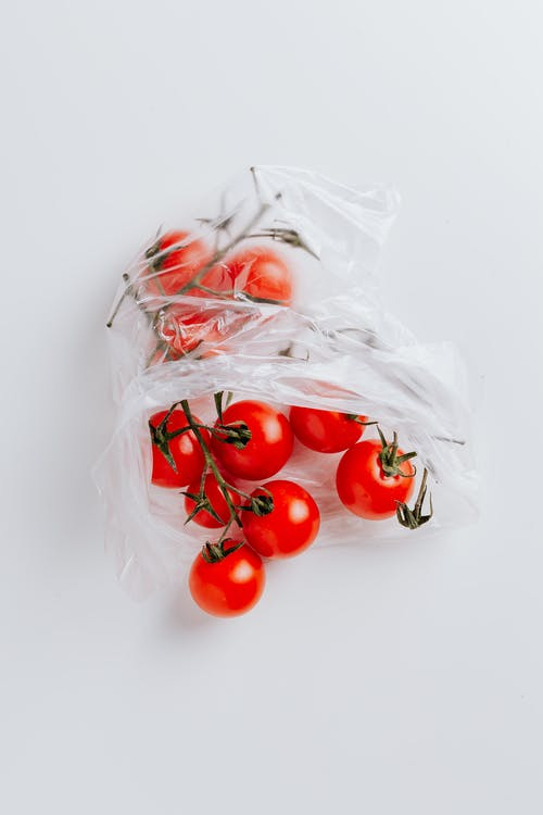 Cherry tomatoes in polyethylene bag isolated on white background