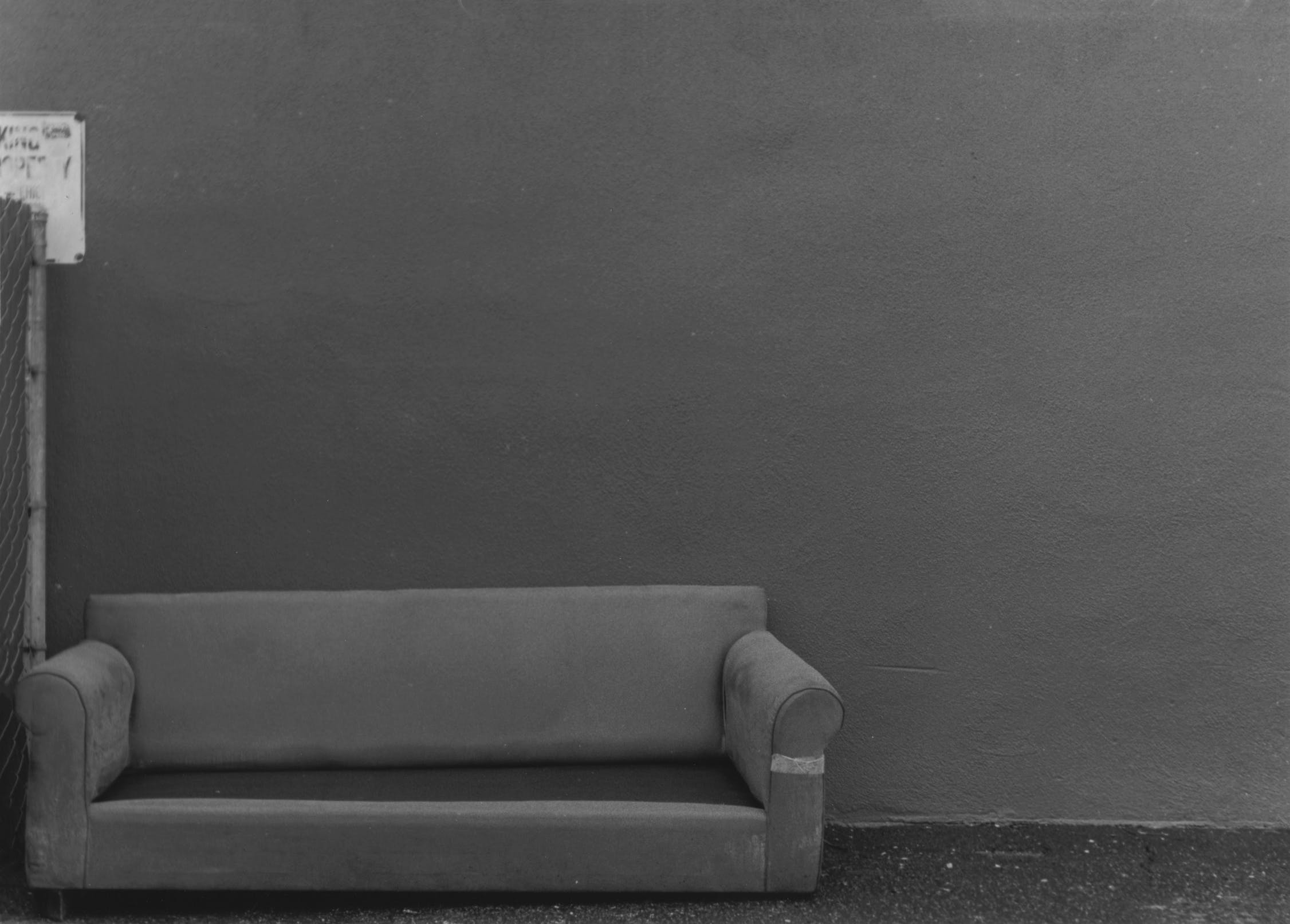 Free stock photo of alley, black and white, couch, film