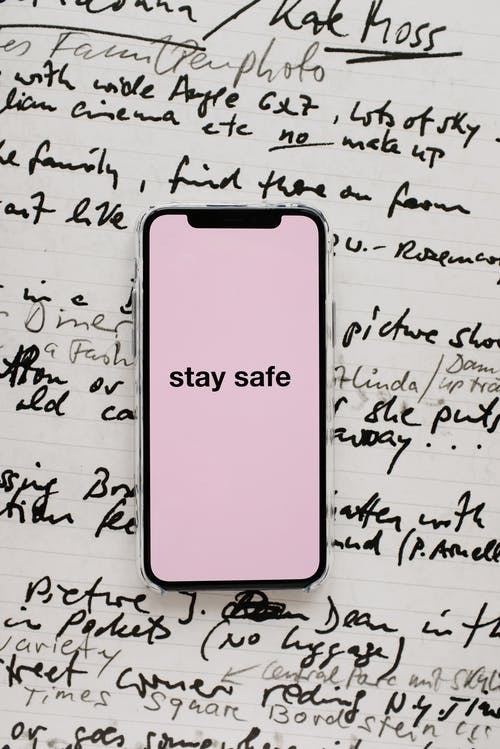 Smartphone With Stay Safe On Screen