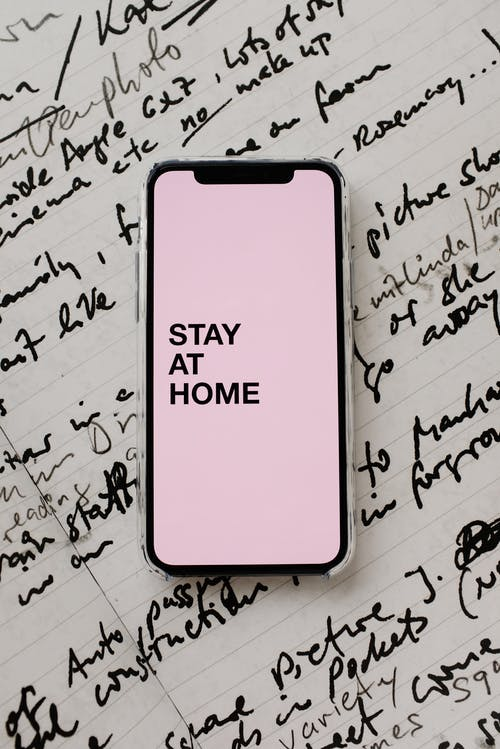 Stay At Home  On A Smartphome Screen Display