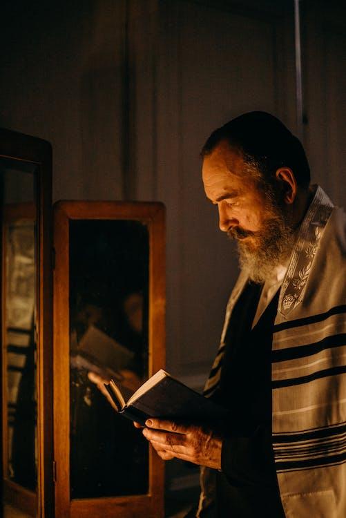 Bearded Man Reading a Book