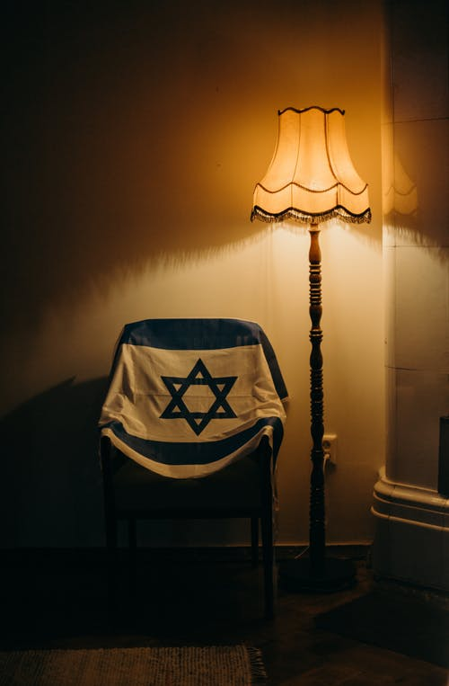 Flag of Israel Over a Chair