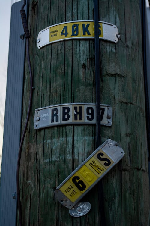 Free stock photo of electric box, fuze size, metal numbers