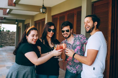 Group Of People Having Drinks