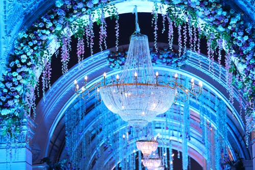 Breathtaking view of blue arch decorated with different items