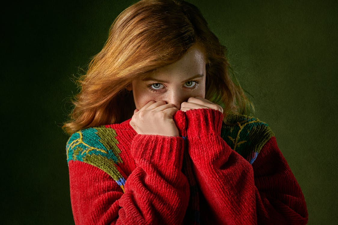 Woman in Red and Green Sweater