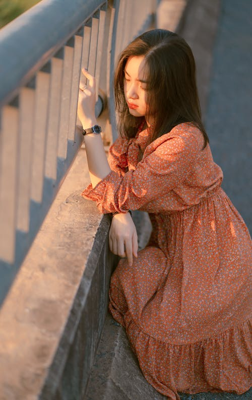 Woman in Brown Long Sleeve Dress Leaning On An Iron Railings