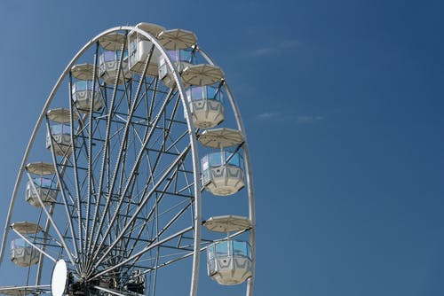 White Ferris Wheel Under Blue Sky