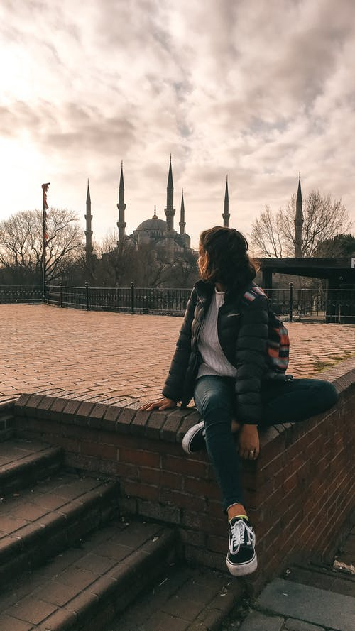 Free stock photo of blue mosque, cloudy, girl, Istanbul