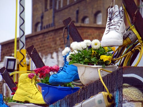 Three Unpaired Assorted-color High-top Shoes on Flowers