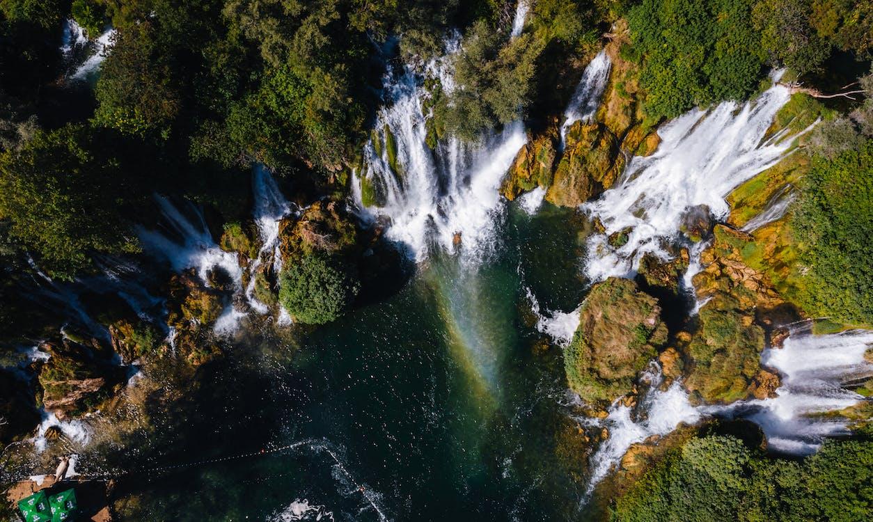 Bird's Eye View Of Falls During Daytime