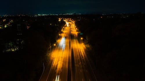 Bird's Eye View Of An Empty Road During Evening