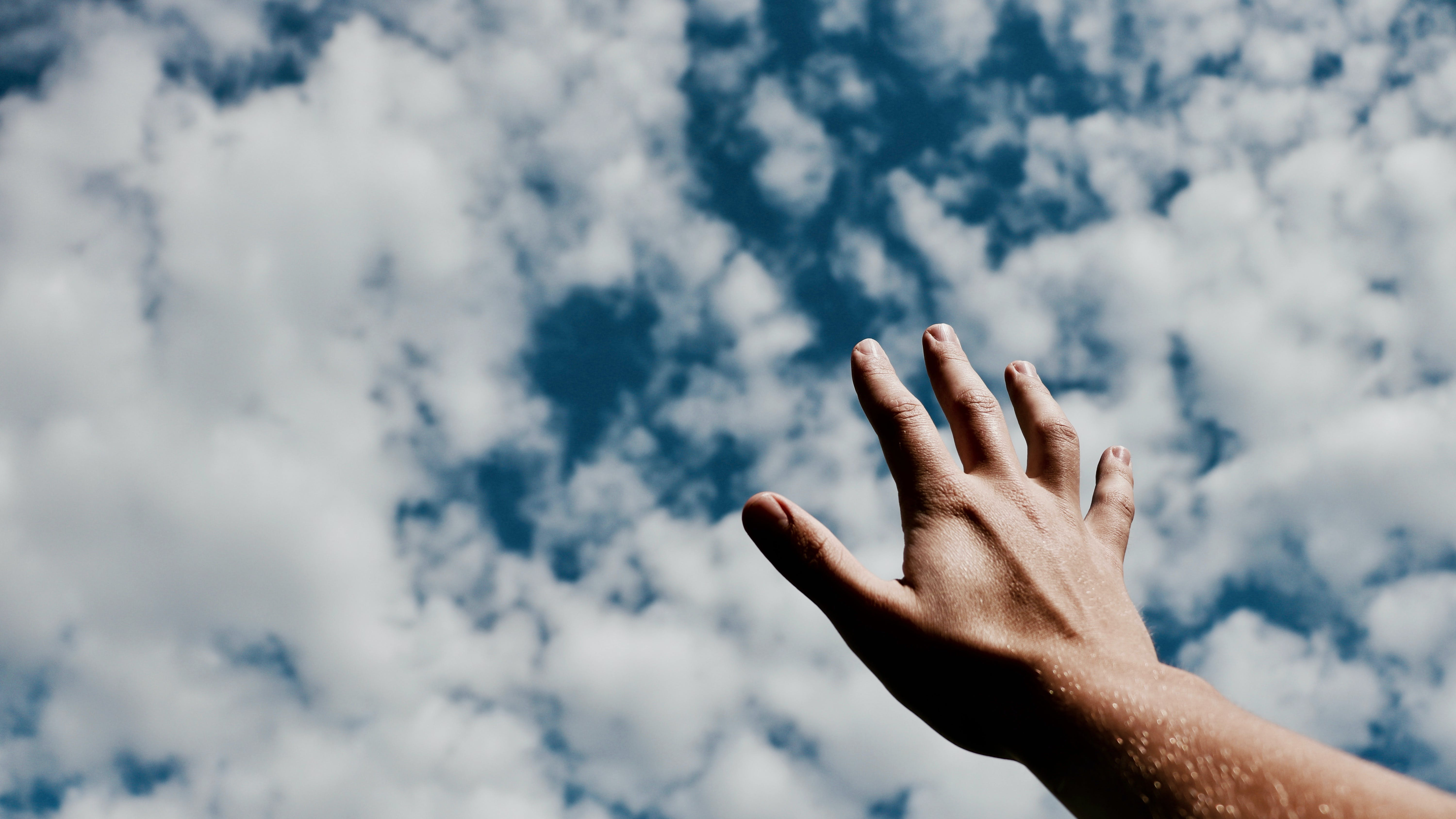 Free stock photo of clouds, hand, praise, reach