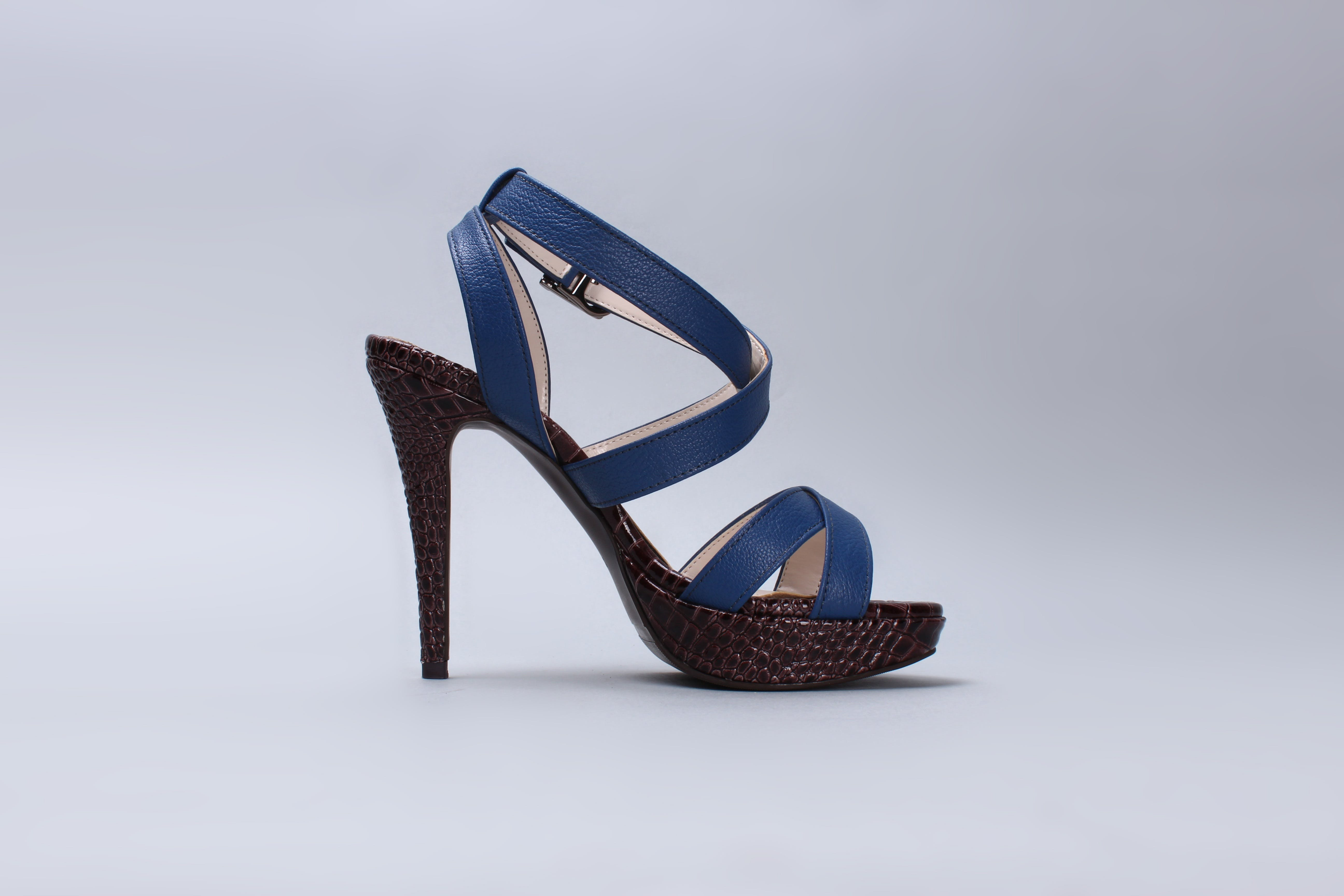 Blue Leather Ankle Strap Black Heeled Sandals