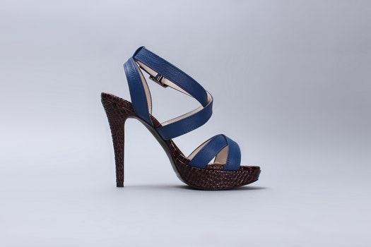 Blue Leather Ankle Strap Black Heeled Sandals