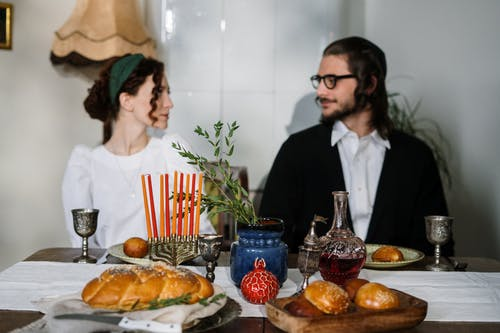Couple Having Traditional Jewish Food