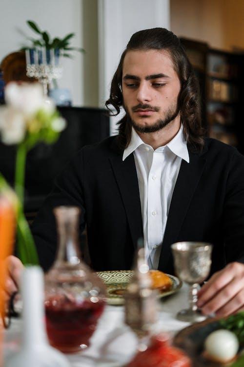 Man Having Traditional Jewish Food