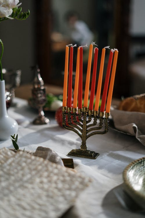 Menorah With Red and Orange Candles