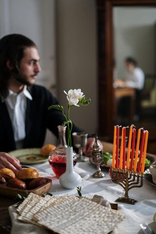 Table With Candles and Matzo