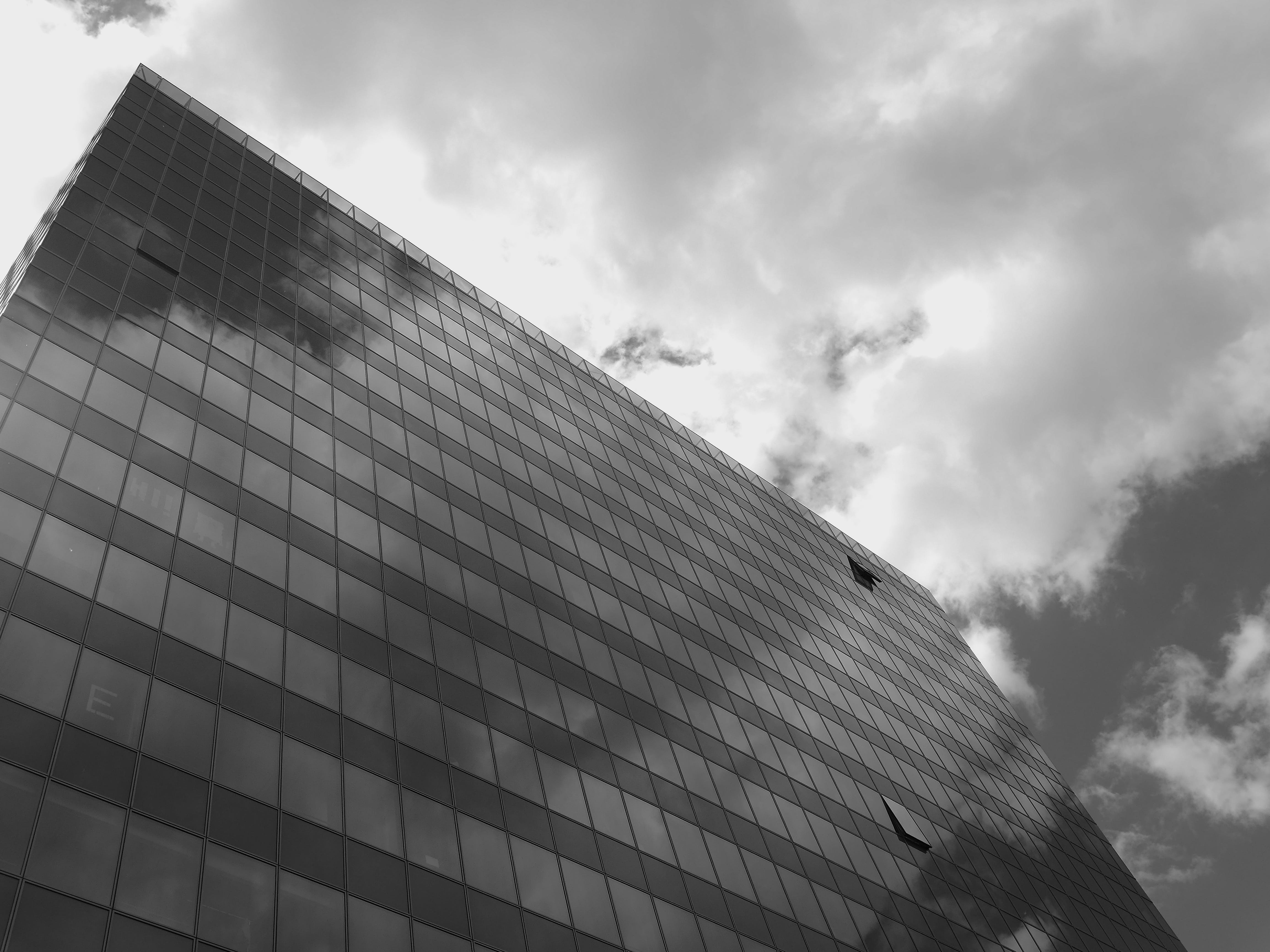 Gray Scale Photo of High-rise Building