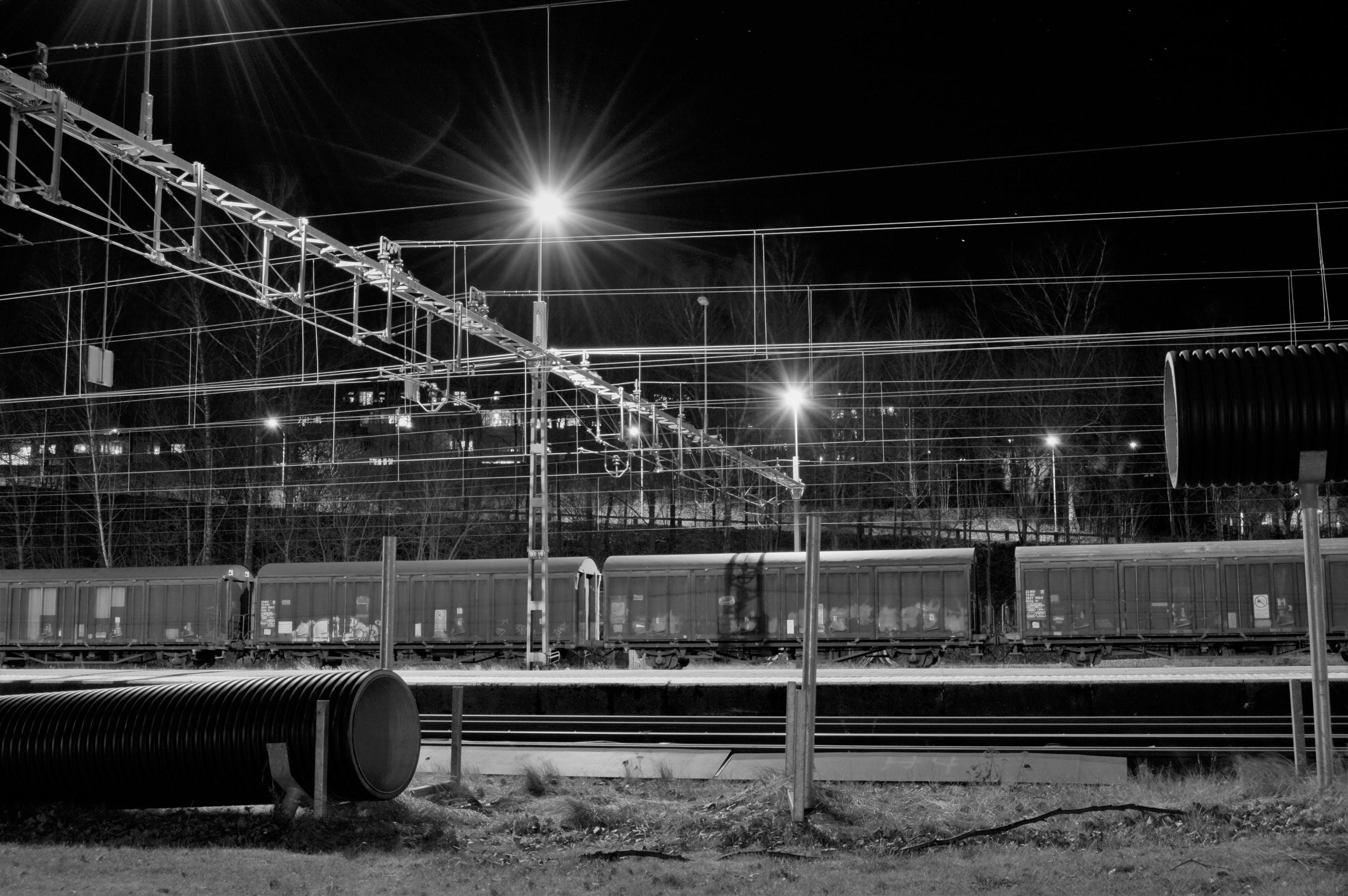 Free stock photo of light, lights, night, train