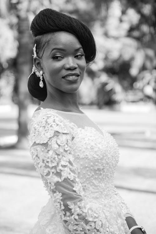 Monochrome Photo Of Woman Wearing Laced Dress