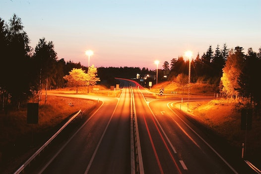 Free stock photo of road, dawn, sunset, lights
