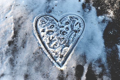 Free stock photo of hear shape, ice, snow