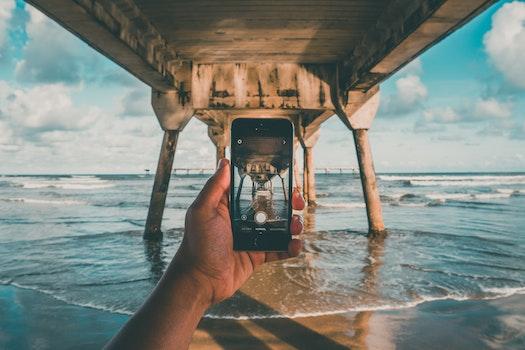 Free stock photo of sea, sky, beach, hand