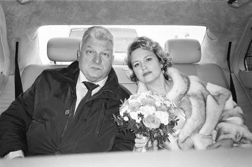 Mature couple on way to wedding