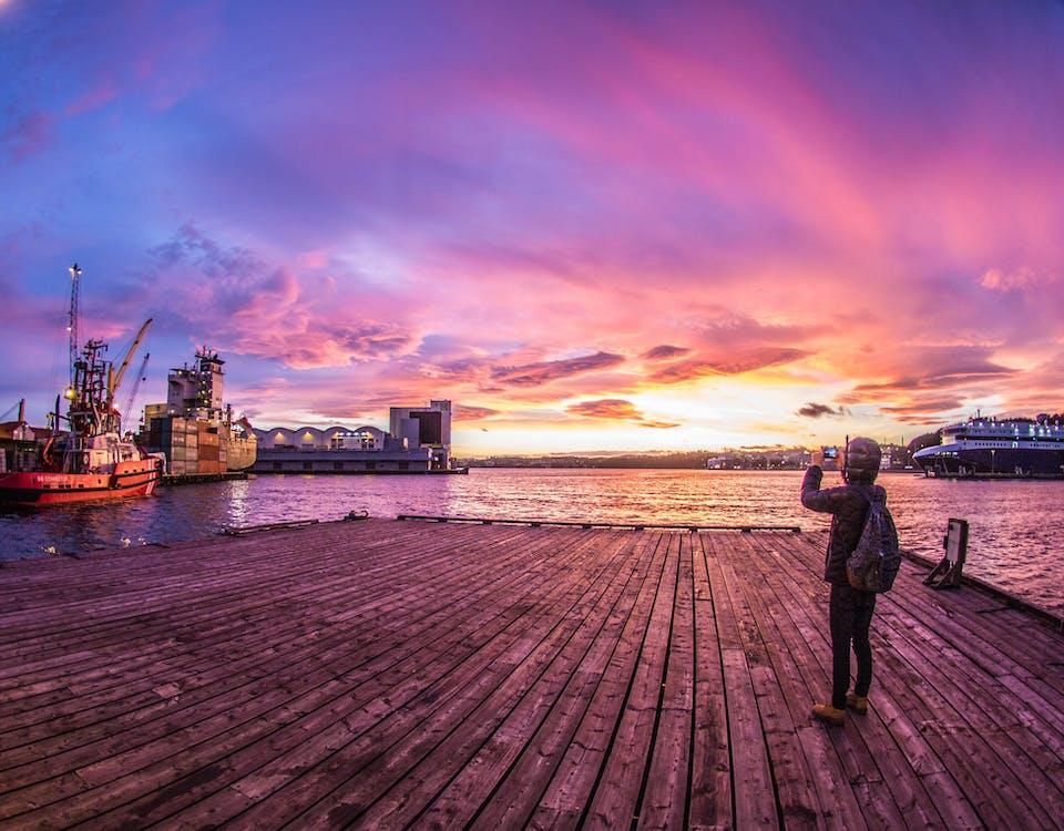 Free stock photo of evening sky, evening sun, kristiansand