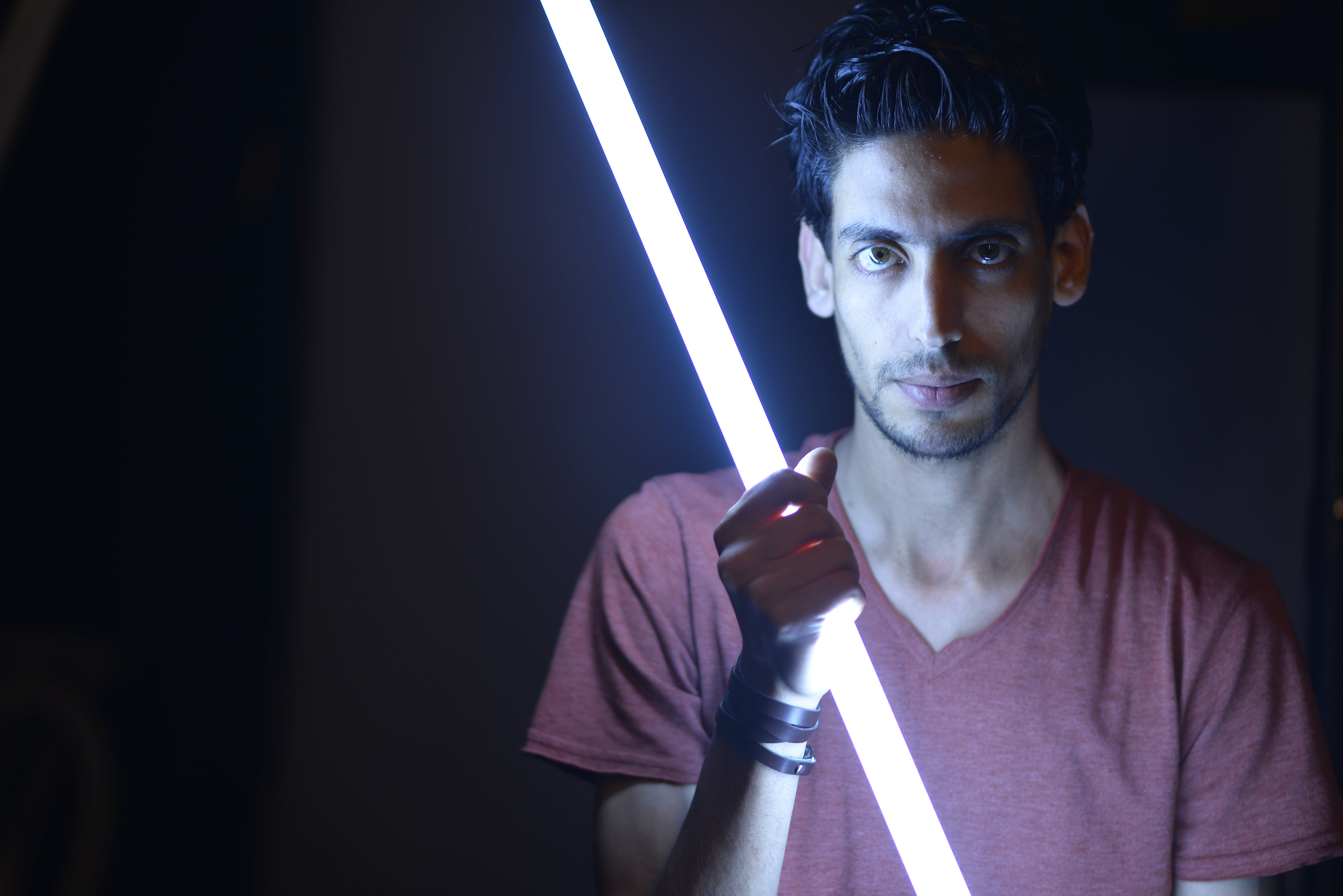 Man Holding Light Saber Sword