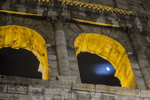 Free stock photo of italy, roma, luna, colosseo