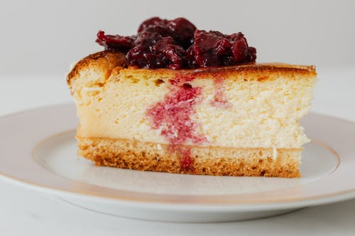 Tasty piece of berry cheesecake