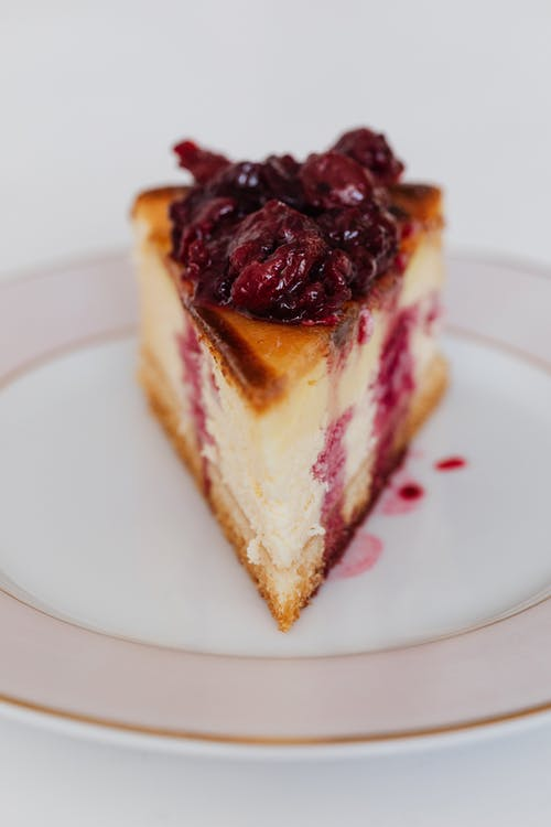 Piece of delicious berry cheesecake