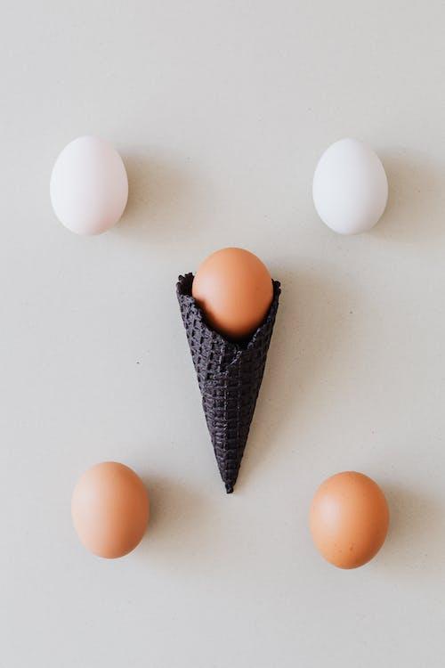 Gratis lagerfoto af æg, brune æg, hvid baggrund, hvide æg