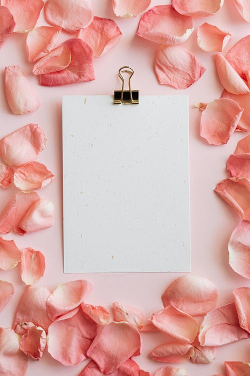 Top view of clipboard in pink petals of roses frame arranged on pink table