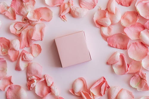 Composition of pink petals round gift box