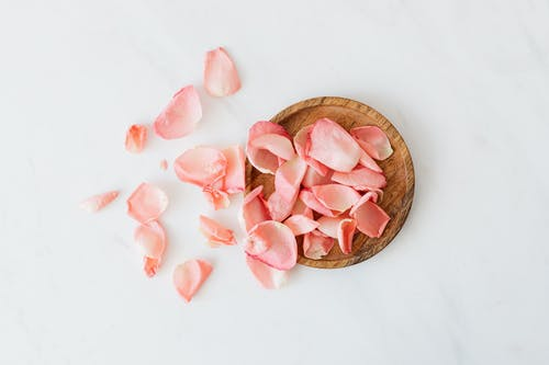 Rose petals and wooden plate on white background